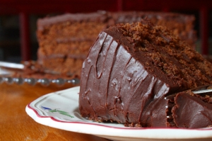 Chocolate sour-cream icing on Chocolate Coma Cake
